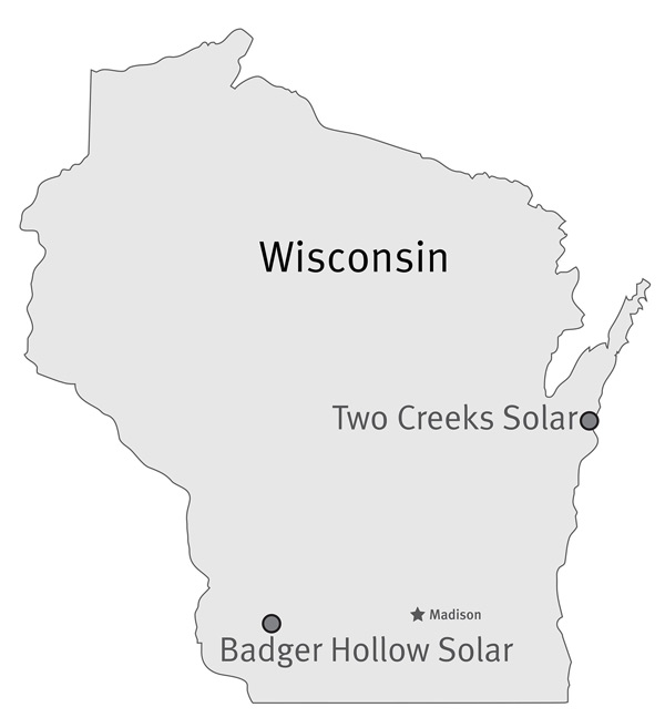 Map of new MGE solar projects in Wisconsin