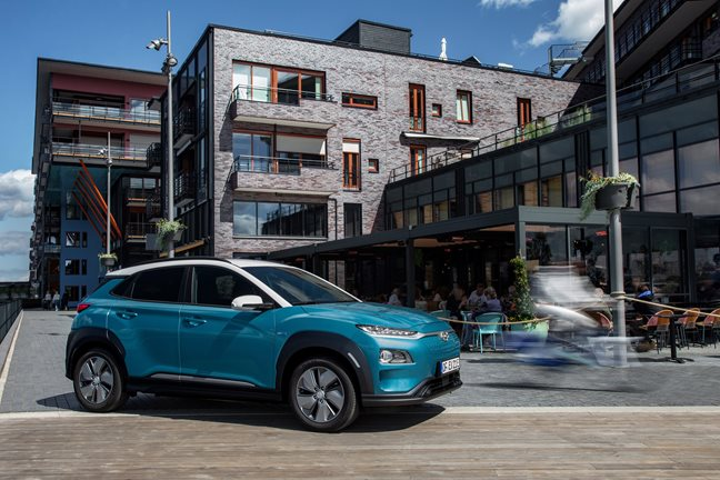 The 2019 Hyundai Kona EV travels up to 258 miles on a full charge.