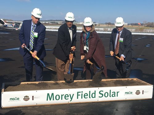 MGE representatives were joined by leaders from the City of Middleton and the Middleton-Cross Plains Area School District in October to celebrate the groundbreaking for a 5-megawatt (MW) solar array at the Middleton Municipal Airport, also known as Morey Field.